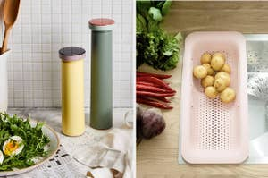 (left) Tall thin grinders (right) Expandable colander in a sink
