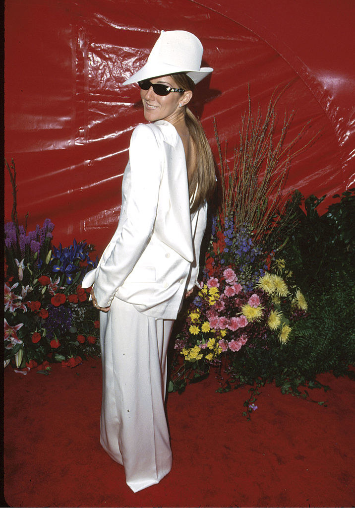 Celine Dion in her backward tuxedo
