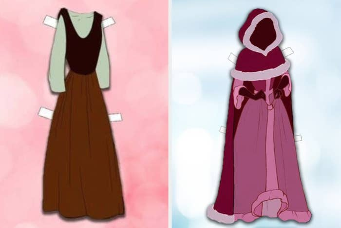 An animated plain long sleeved dress and An animated long dress with a fur-trimmed hooded cape