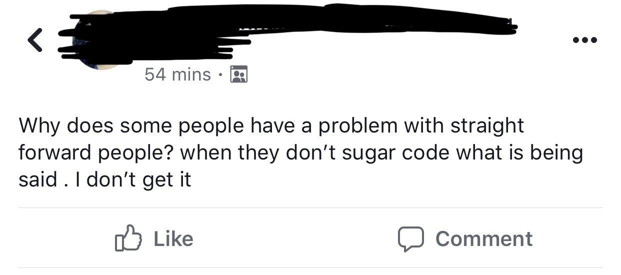 Person misspelling sugar coat as sugar code