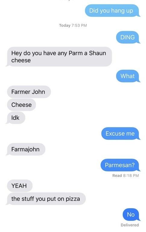 Person misspelling parmesan cheese as farmer john cheese