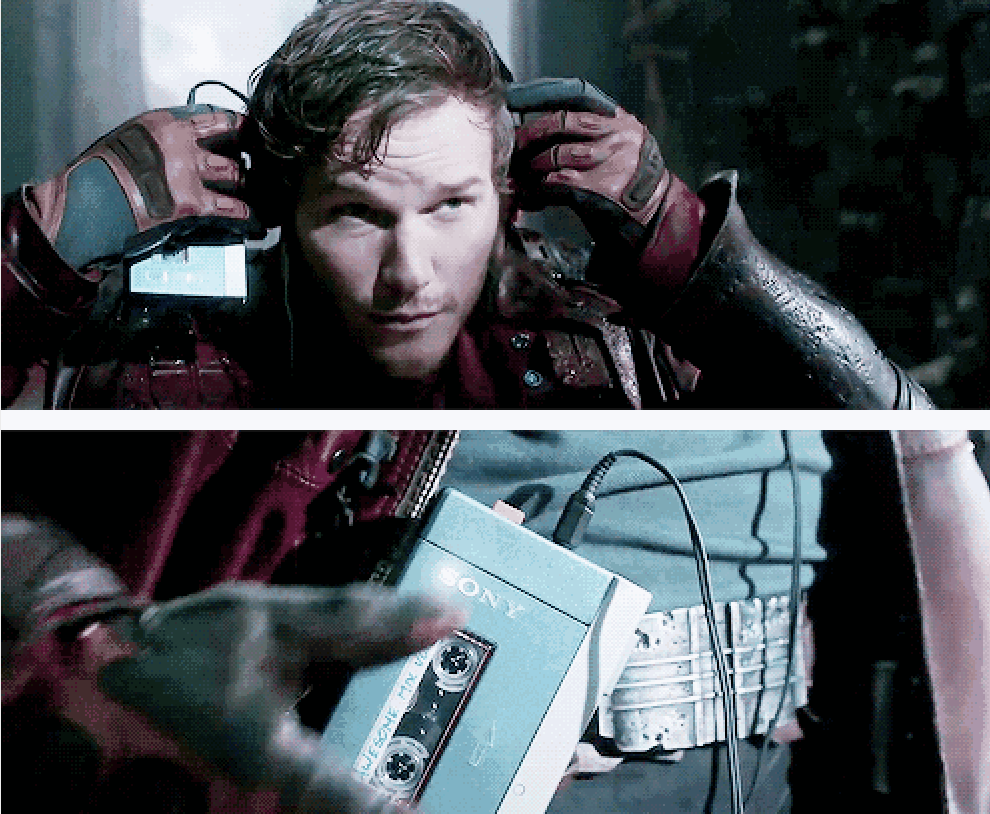 Star-Lord using his cassette player