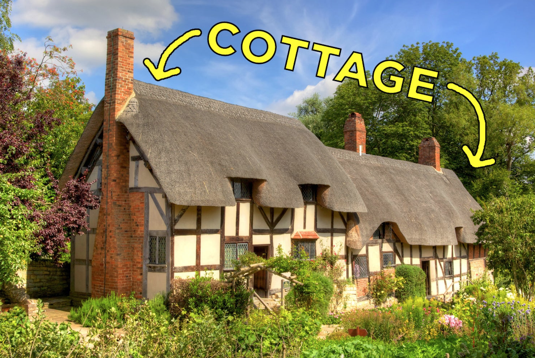 A large cottage surrounded by plants with the words cottage written about it