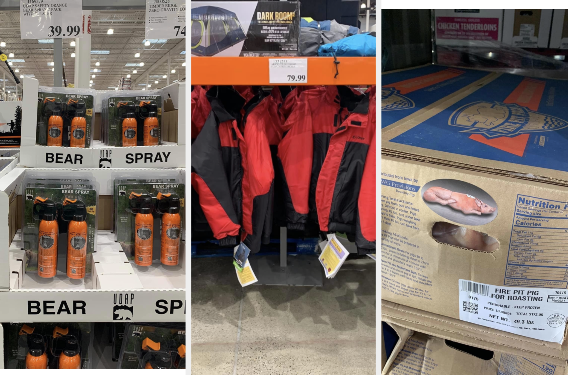 Bear spray, float coats, and whole-roasted pigs at Costco in Alaska.