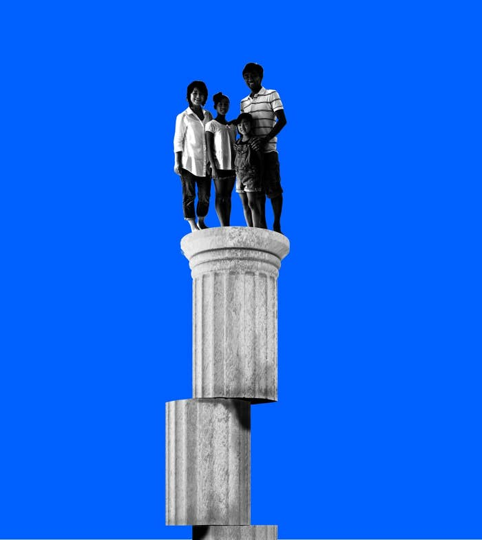 An illustration of a family on an unstable column