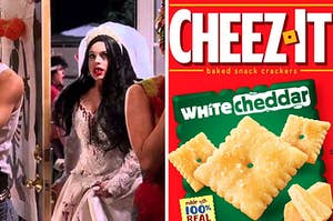 """On the left, Lindsay Lohan wears a bloody bride costume at a Halloween party as Cady in """"Mean Girls,"""" and on the right, a box of Cheez-It White Cheddar"""