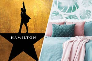 "The ""Hamilton"" playbill next to a soft bed with lots of pillows"