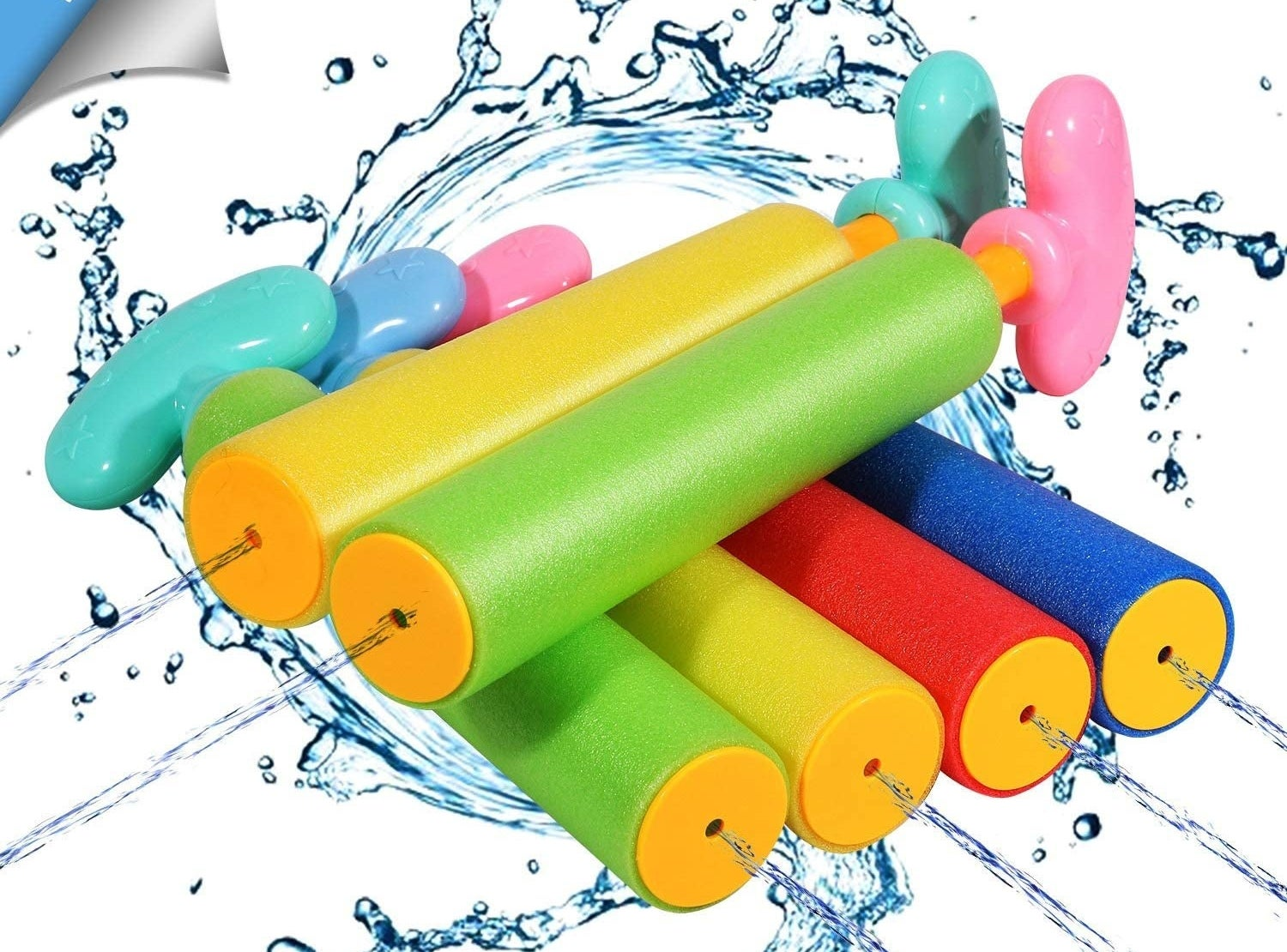 Six foam water blasters that are straight, cylindrical tubes with pumps to suck in and blast water