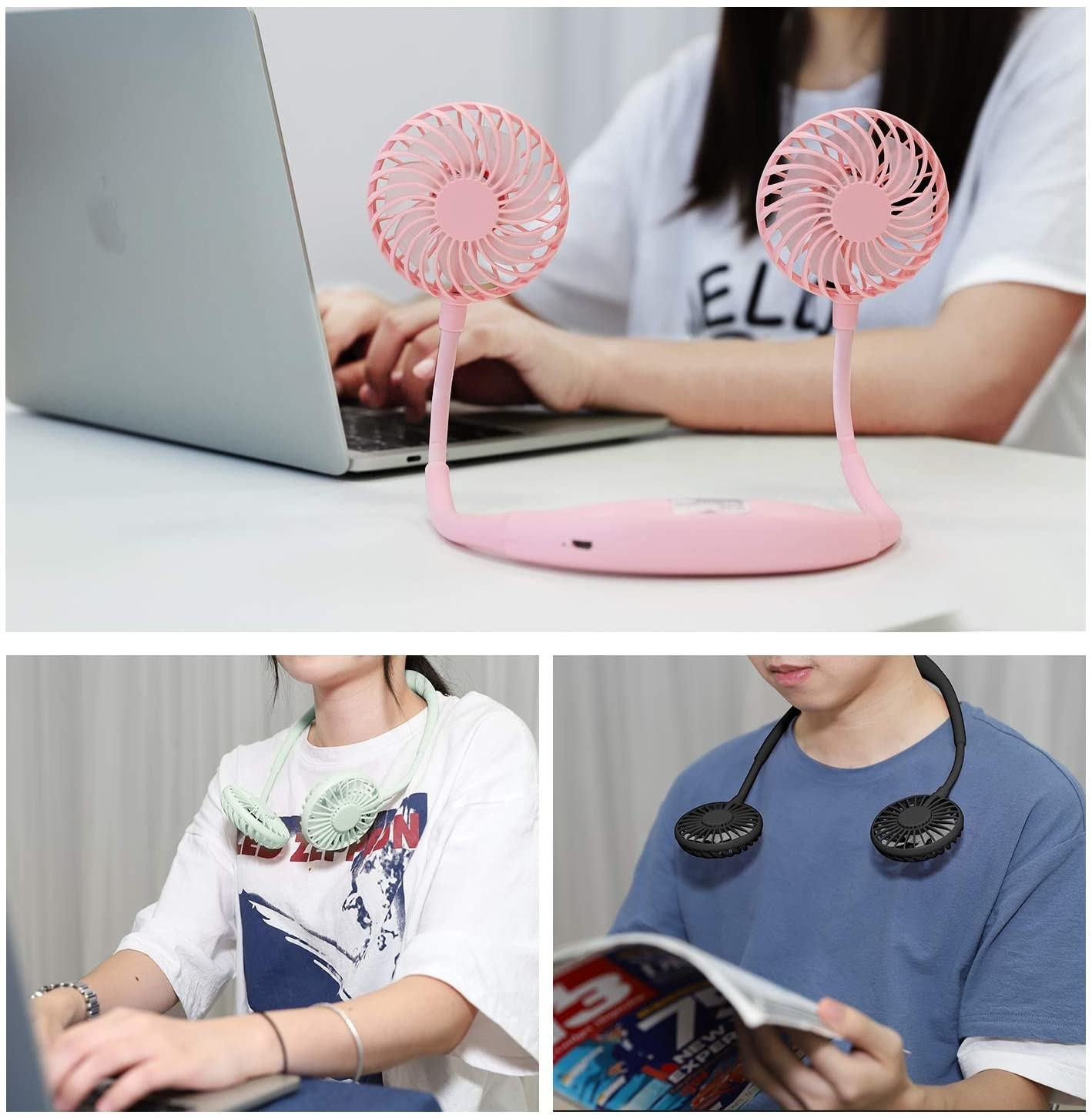 A fan with two heads is upright on a desk and two people wear it around their neck
