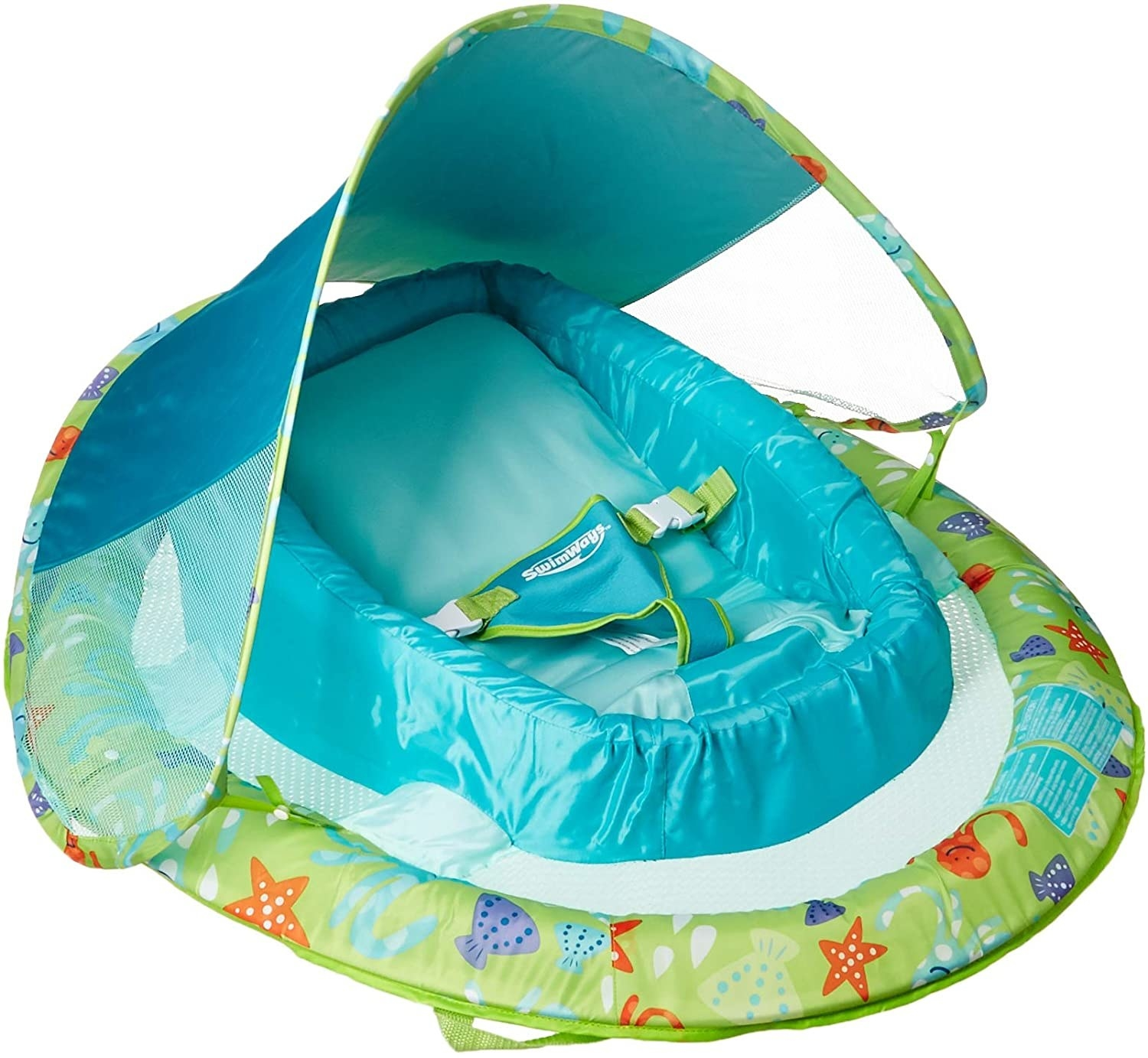 The baby float is a rounded float with a baby seat on the center and an adjustable canopy overhead