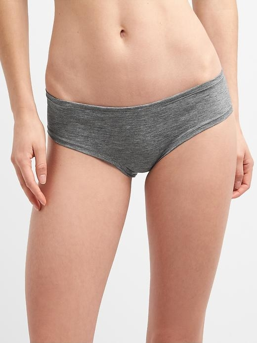 Model wearing the hipster undies in gray