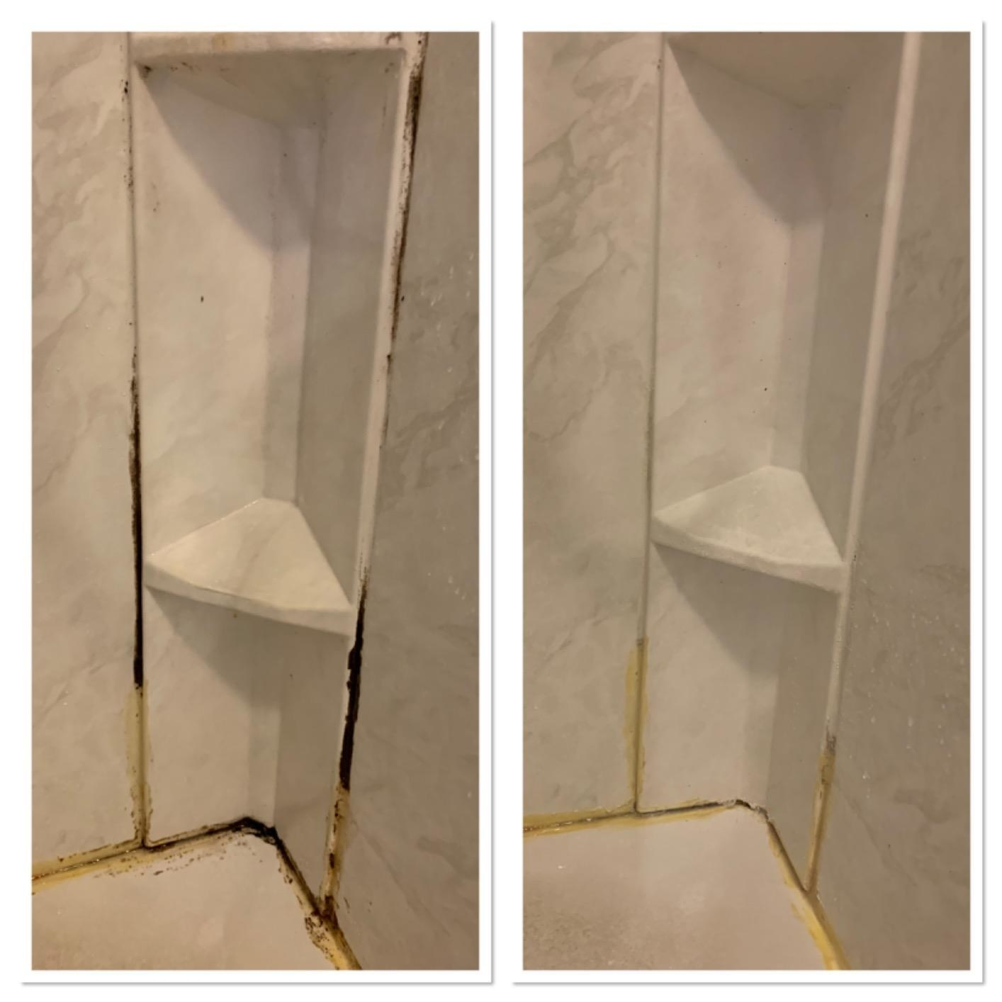 A reviewer's before/after of a shower corner with black mold, and then the same corner clean