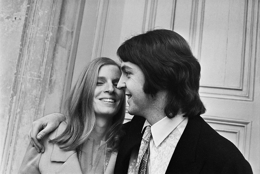 A jubilant Paul and Linda McCartney on their wedding day