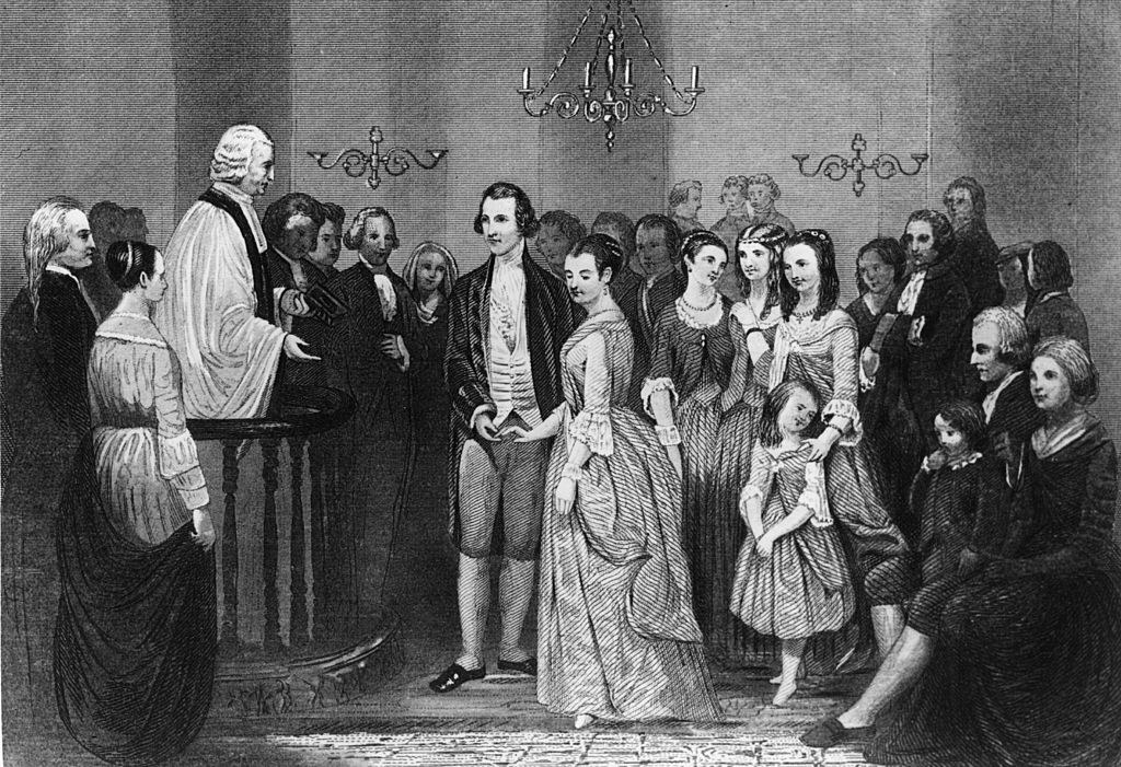 An illustration of a young George and Martha Washington marrying
