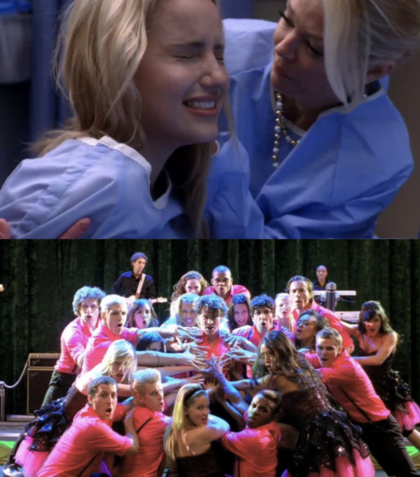 Quinn in labor and Jesse St. James and his glee team sing at Nationals
