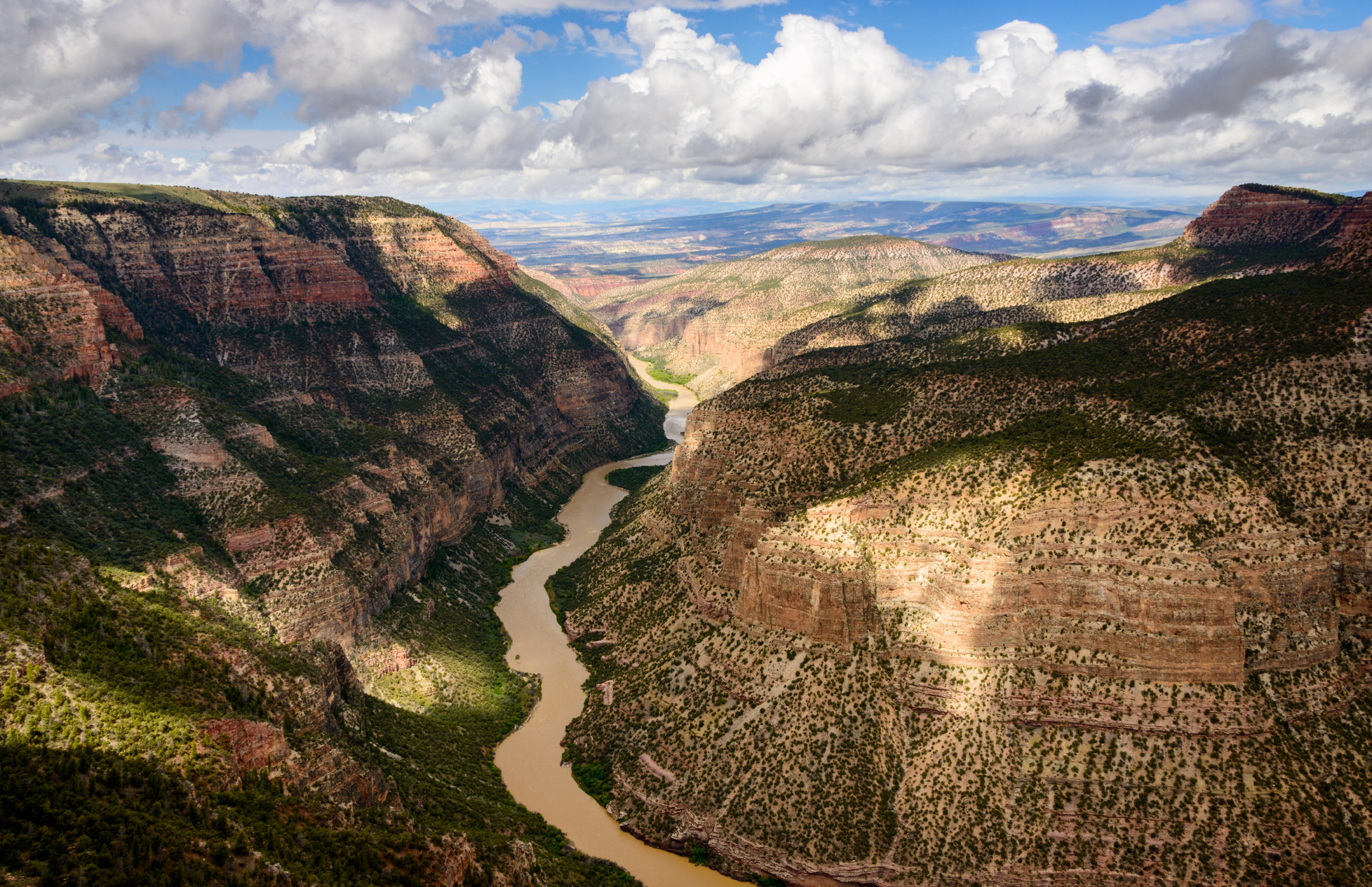 a deep canyon with a brown river running through the valley below
