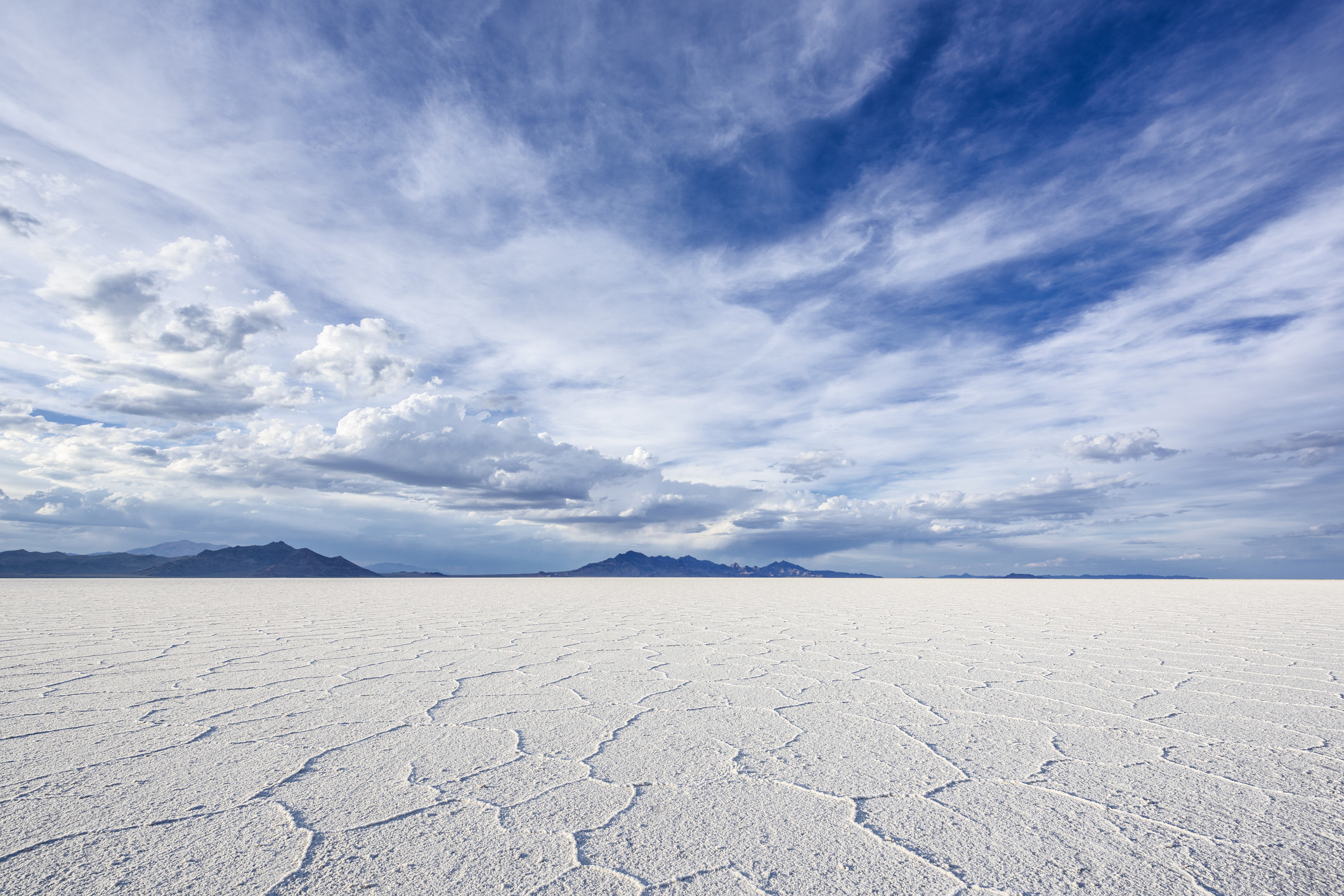 Wide Angle Closeup of White Salt Flats during sunset
