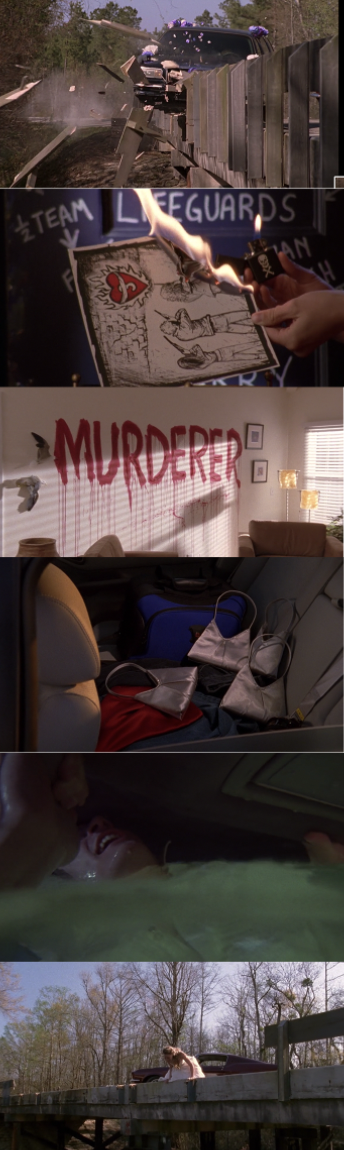 """the limo crashes into the water, Peyton burns the picture of her, Brooke and Lucas, Dan sees """"murderer"""" written on his wall, Lucas has 3 identical purses in his car, and Haley shouts for Nathan as he is stuck in the water-filled car"""
