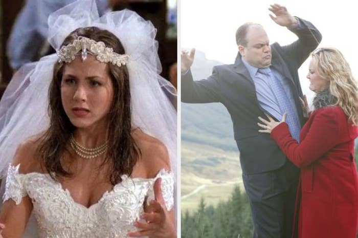 On the left Rachel from Friends is talking and wearing a wedding dress, on the right Janine pushes Barry off the edge of a cliff in Eastenders