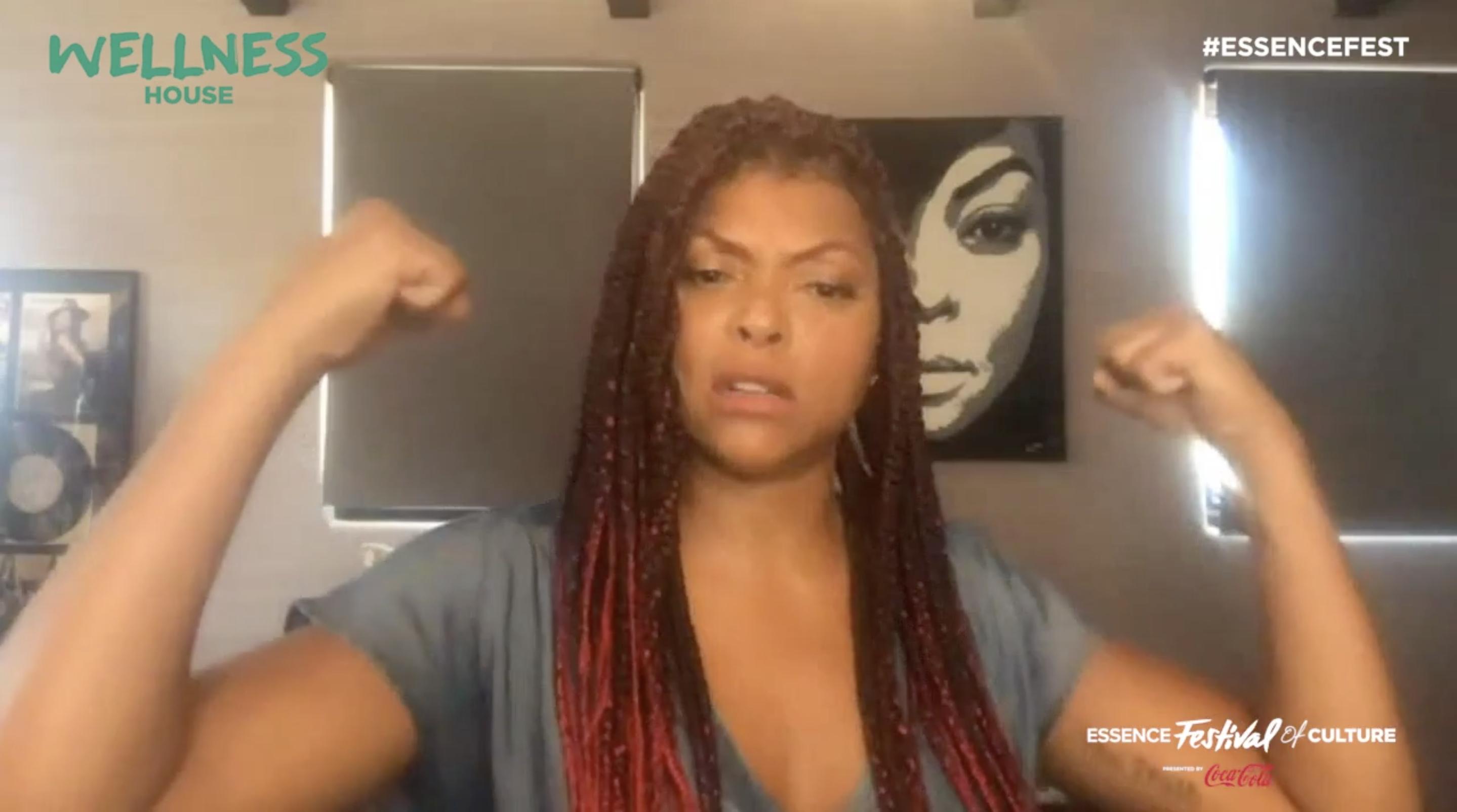Taraji P Henson flexes her biceps