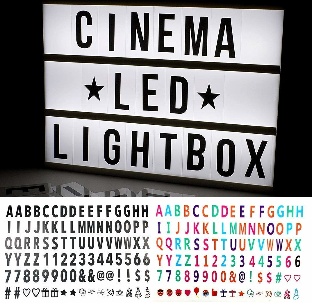A Cinema LED Lightbox with a collage of various letters, numbers, and symbols that can be used with it