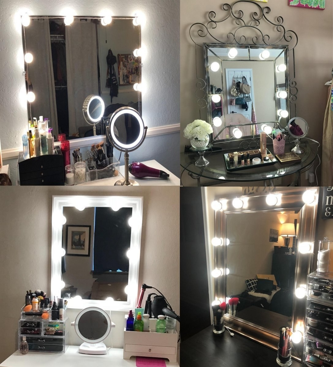 A collage of LED lights being used on different vanity mirrors