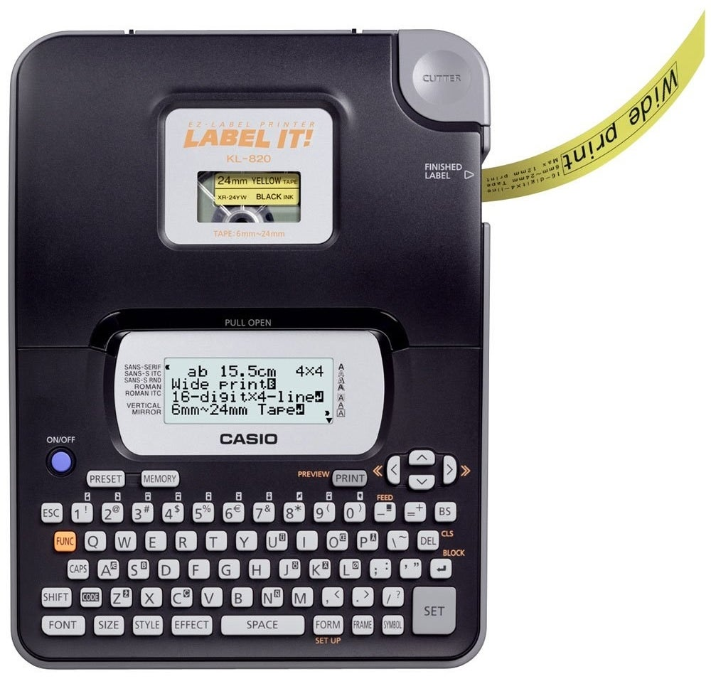 A casio label maker in black
