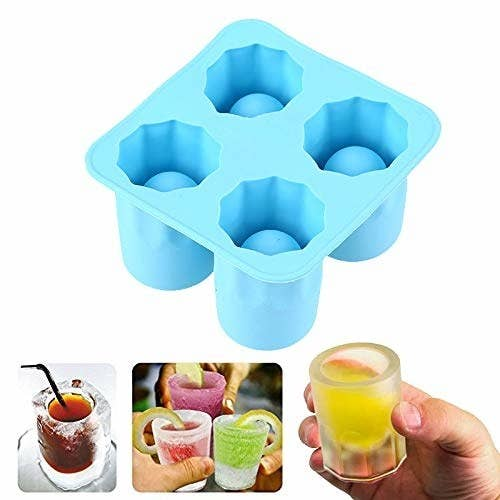 An ice shot-glass maker with a collage of various drinks in ice shot-glasses