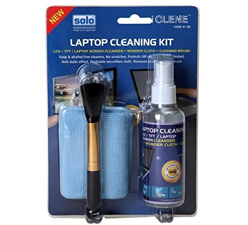 The laptop cleaning kit inside its packaging