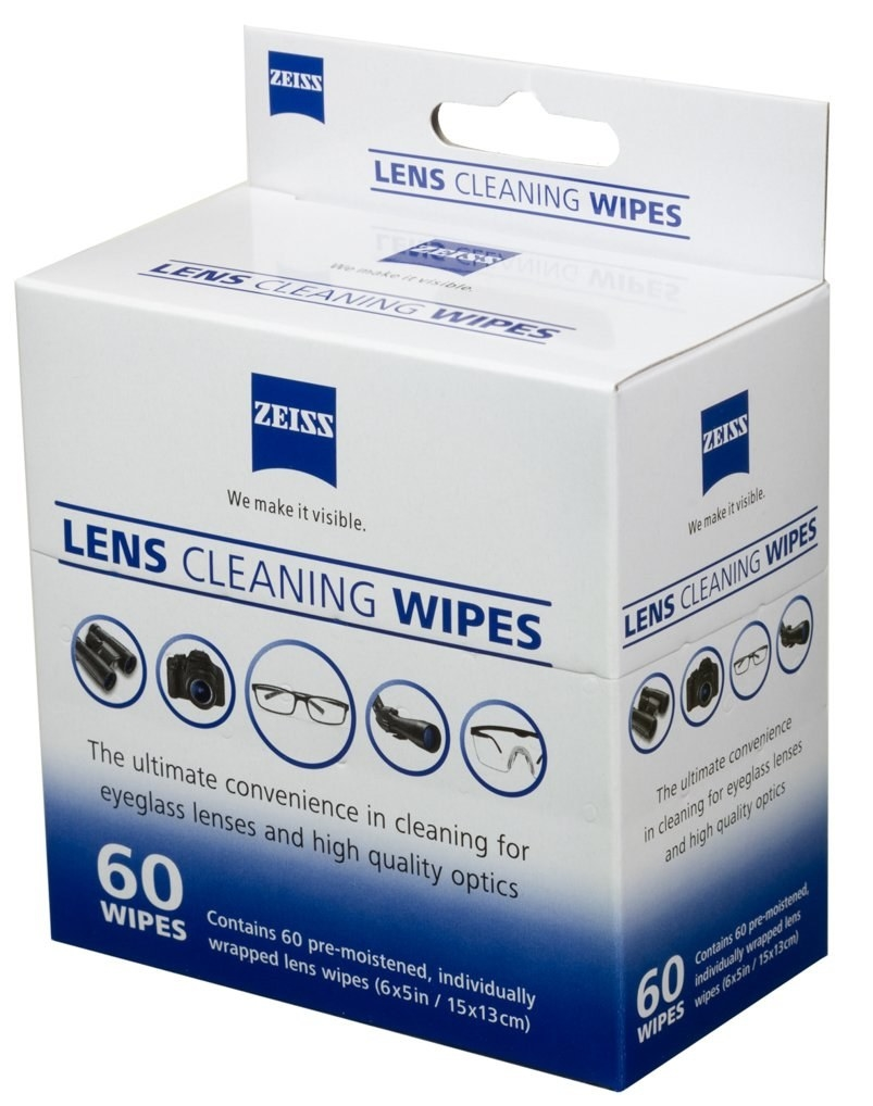 A box of Zeiss Lens Cleaning Wipes