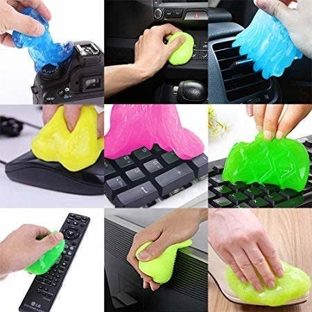 A collage of the cleaning gel being used to gather dust from different surfaces