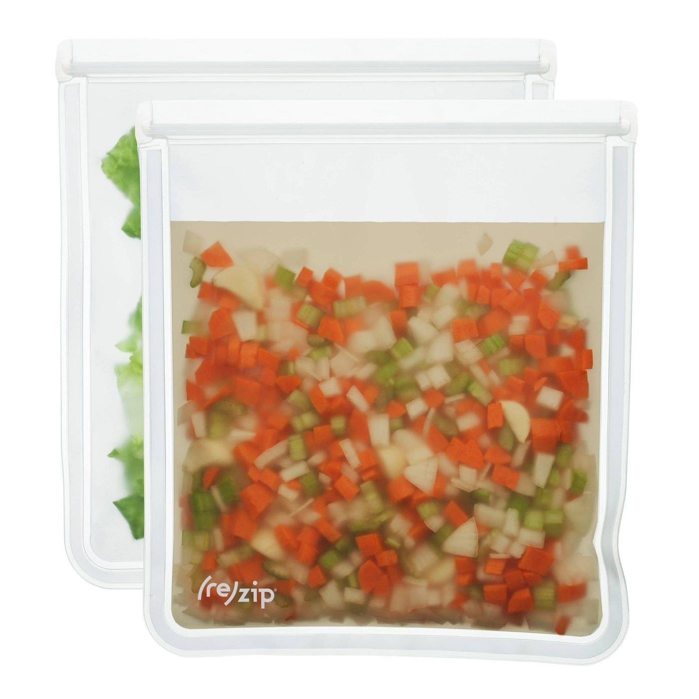 a set of two reusable clear baggies