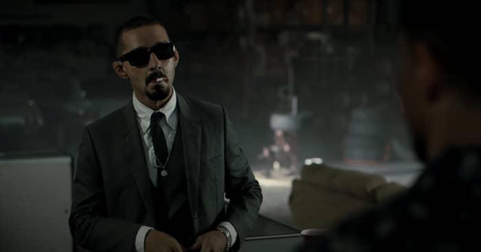 """Shia LaBeouf smokes a cigarette as Creeper in """"The Tax Collector"""""""