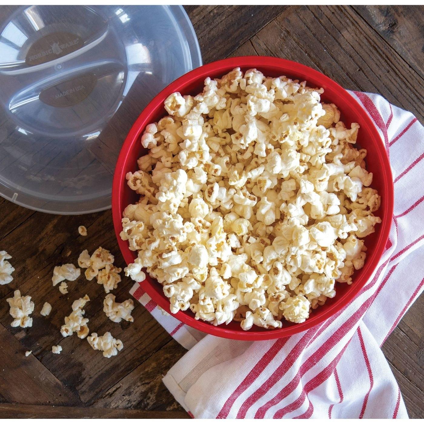 a bowl of freshly popped popcorn