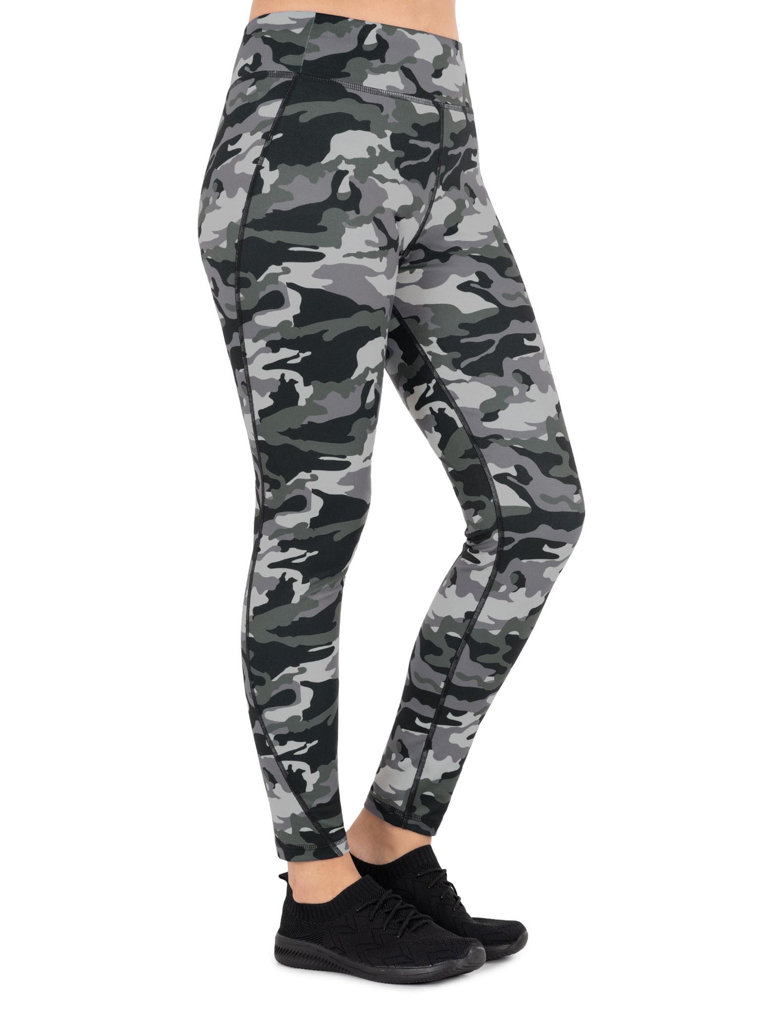model wearing camo print leggings
