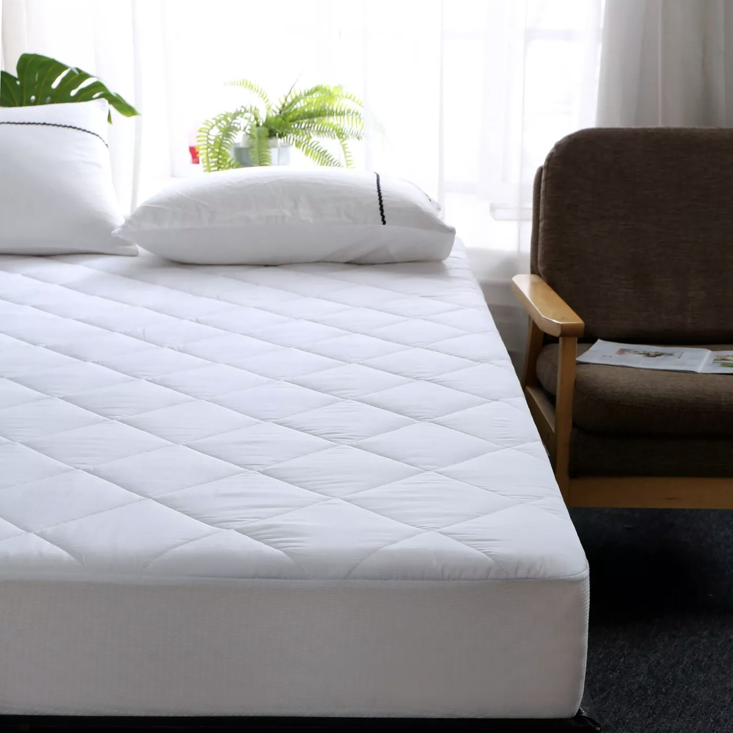 The mattress pad on a mattress