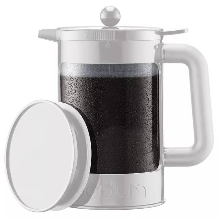 A pitcher with cold brew in it