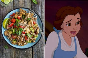 """On the left, a plate of whole wheat pasta with chicken, basil, and tomatoes and a lime on the side, and on the right, Belle from """"Beauty and the Beast"""""""