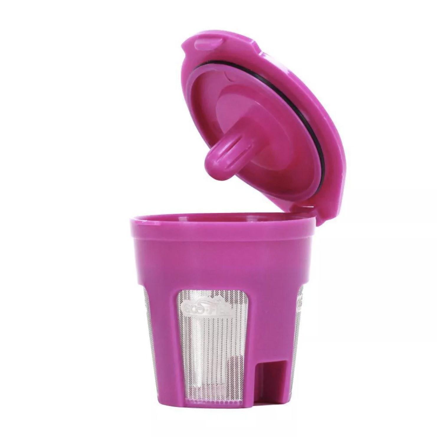 A pink reusable Keurig cup