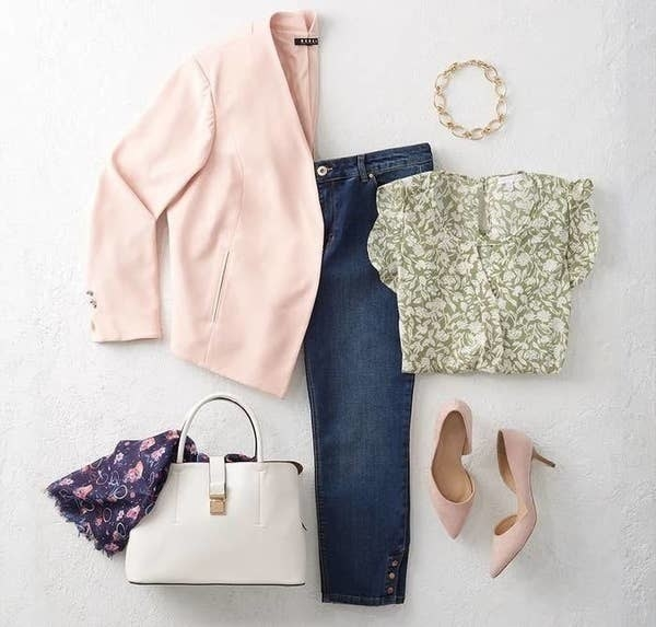 Clothing from Dia & Co including jeans, pumps, a blazer, a blouse, a bracelet, a scarf, and a handbag
