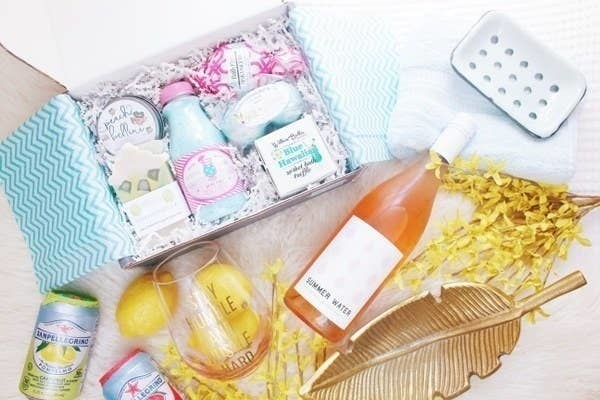 The box filled with bath products