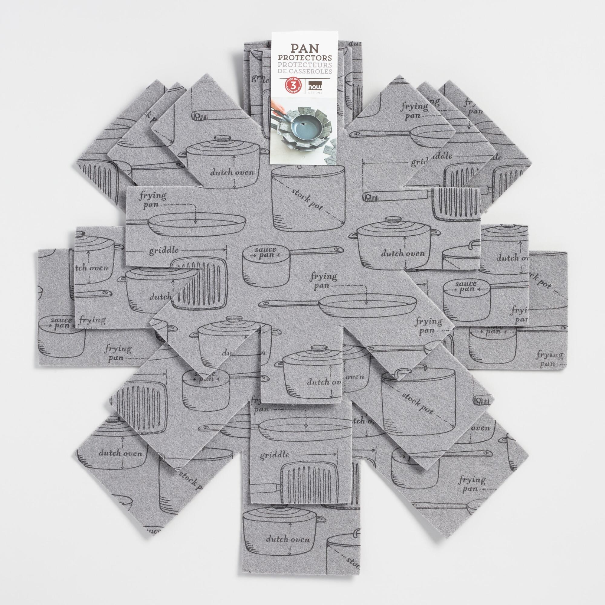 the gray felt protectors with illustrations of cookware