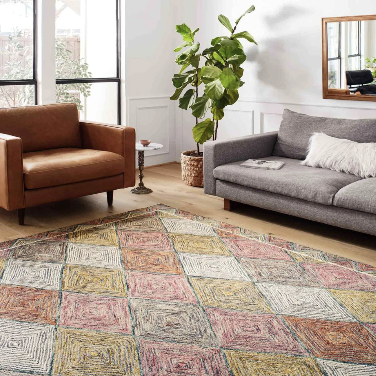 The patterned rug in a living room with couches