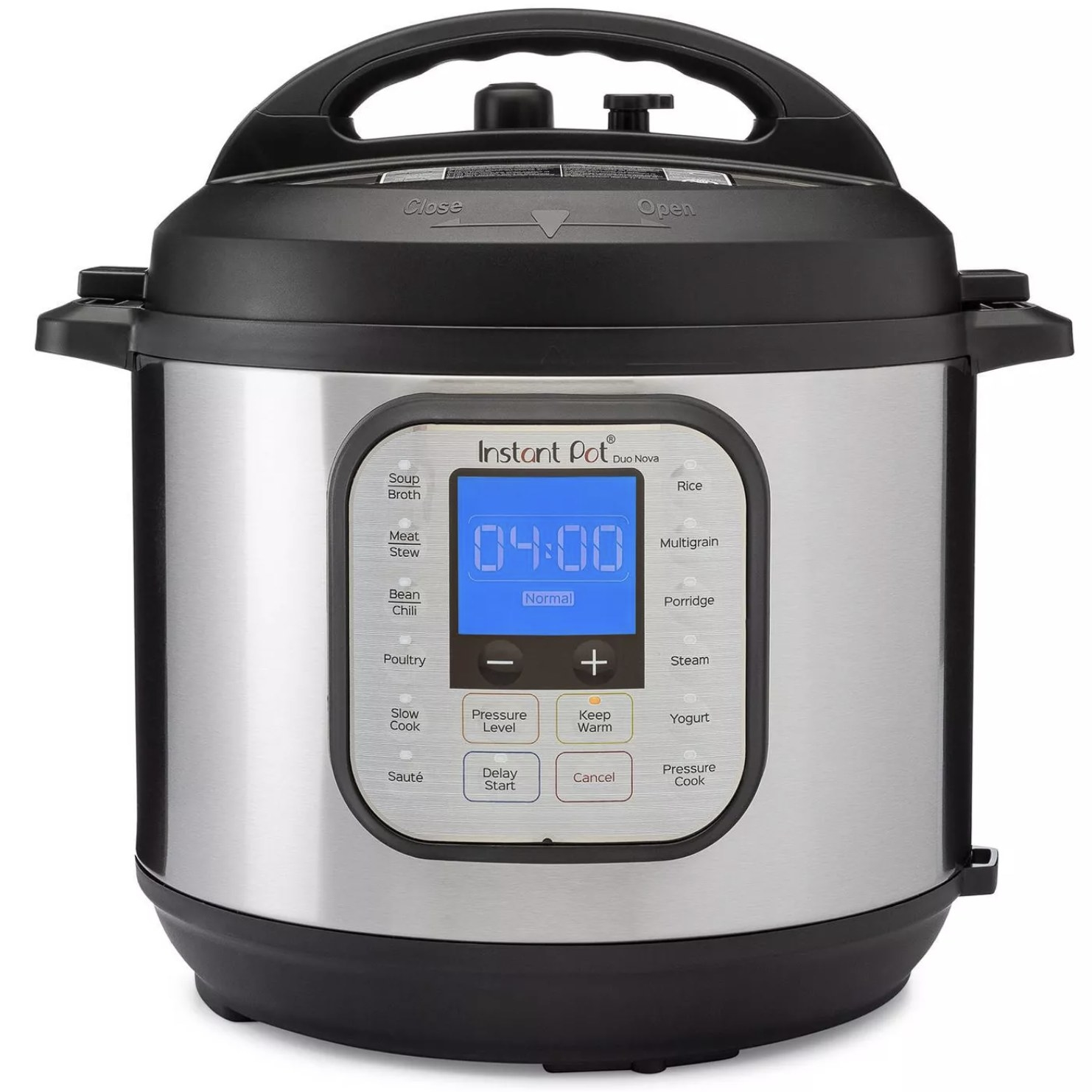 An instant pot with a digital display and setting buttons