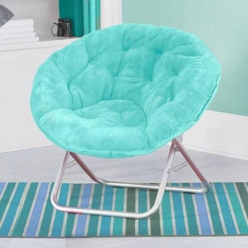 A blue saucer chair