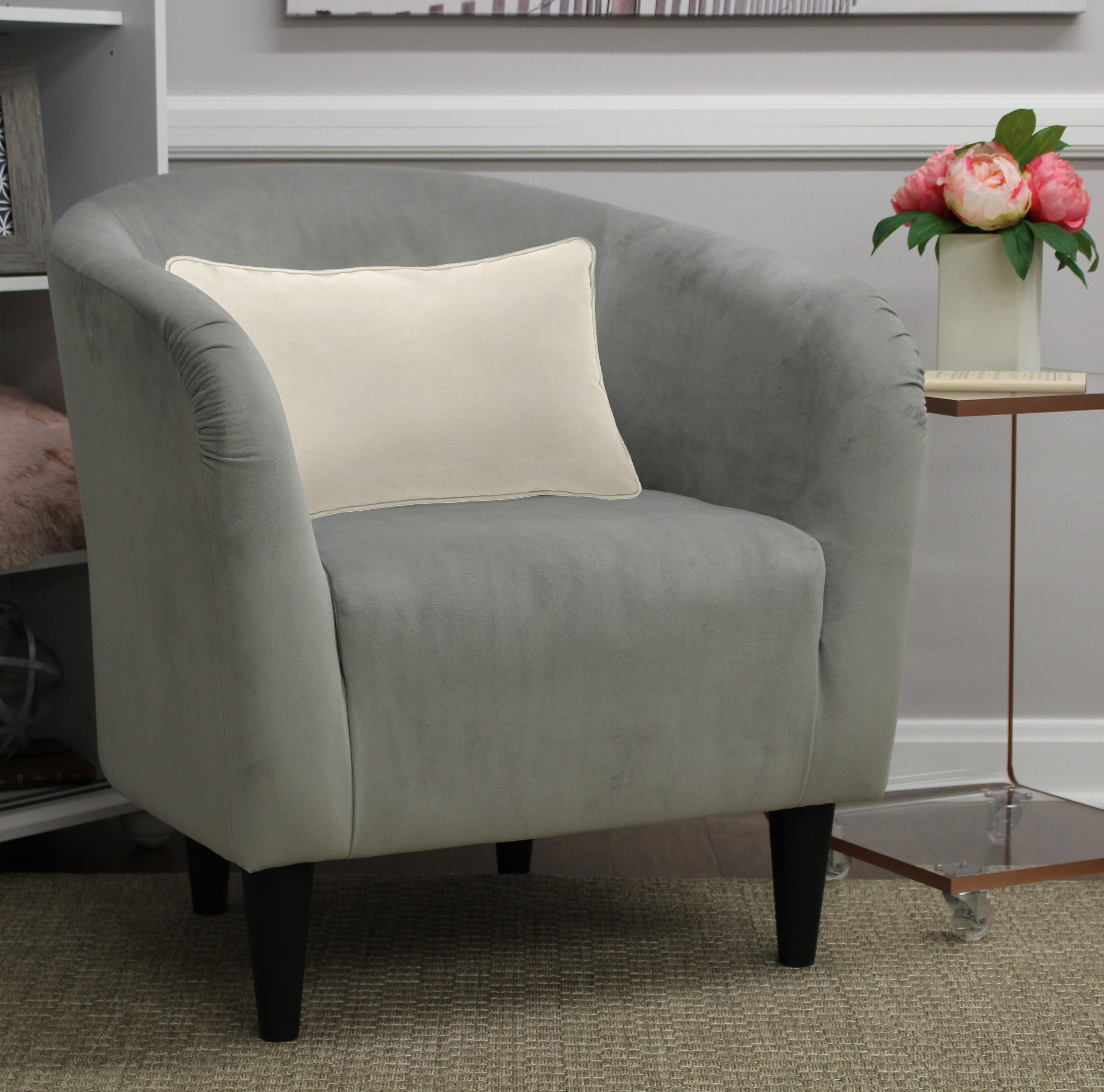 A small gray accent chair