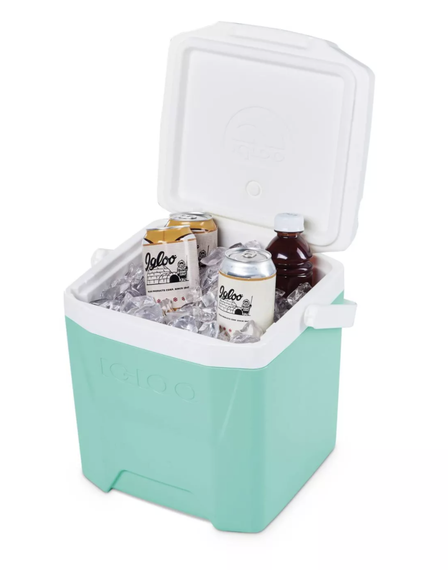 The cooler in teal