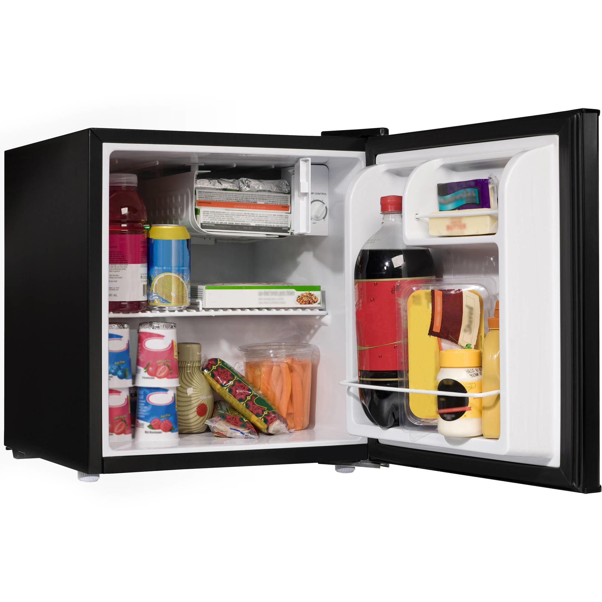 A black mini fridge