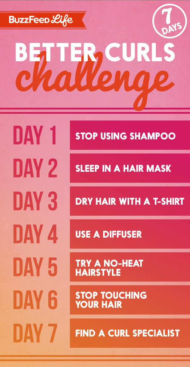 """Chart for BuzzFeed's """"7-Day Better Curls Challenge"""" with daily steps"""