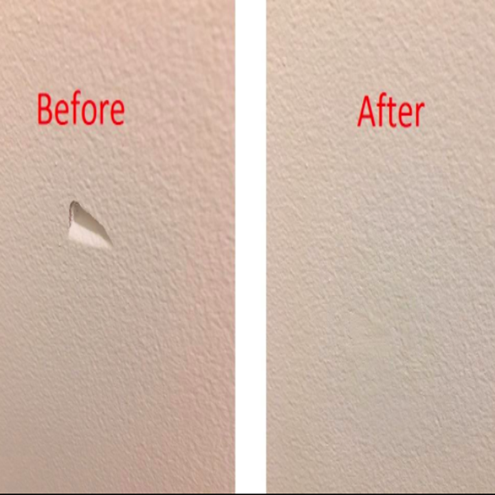 """On the left, a wall with a triangular dent in it and the text """"Before."""" On the right, the same wall with the dent filled in and barely visible and the text """"After"""""""